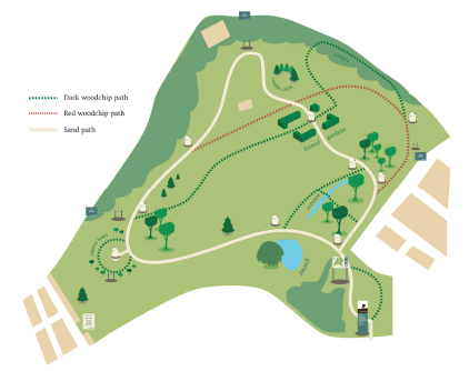 Wayfinding project: map of the Harris Garden with new paths and features